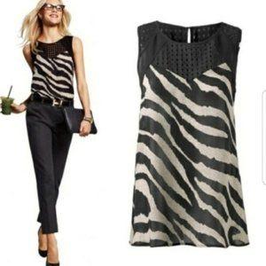 CAbi Small Tivoli Zebra Print Blouse Tank #5046